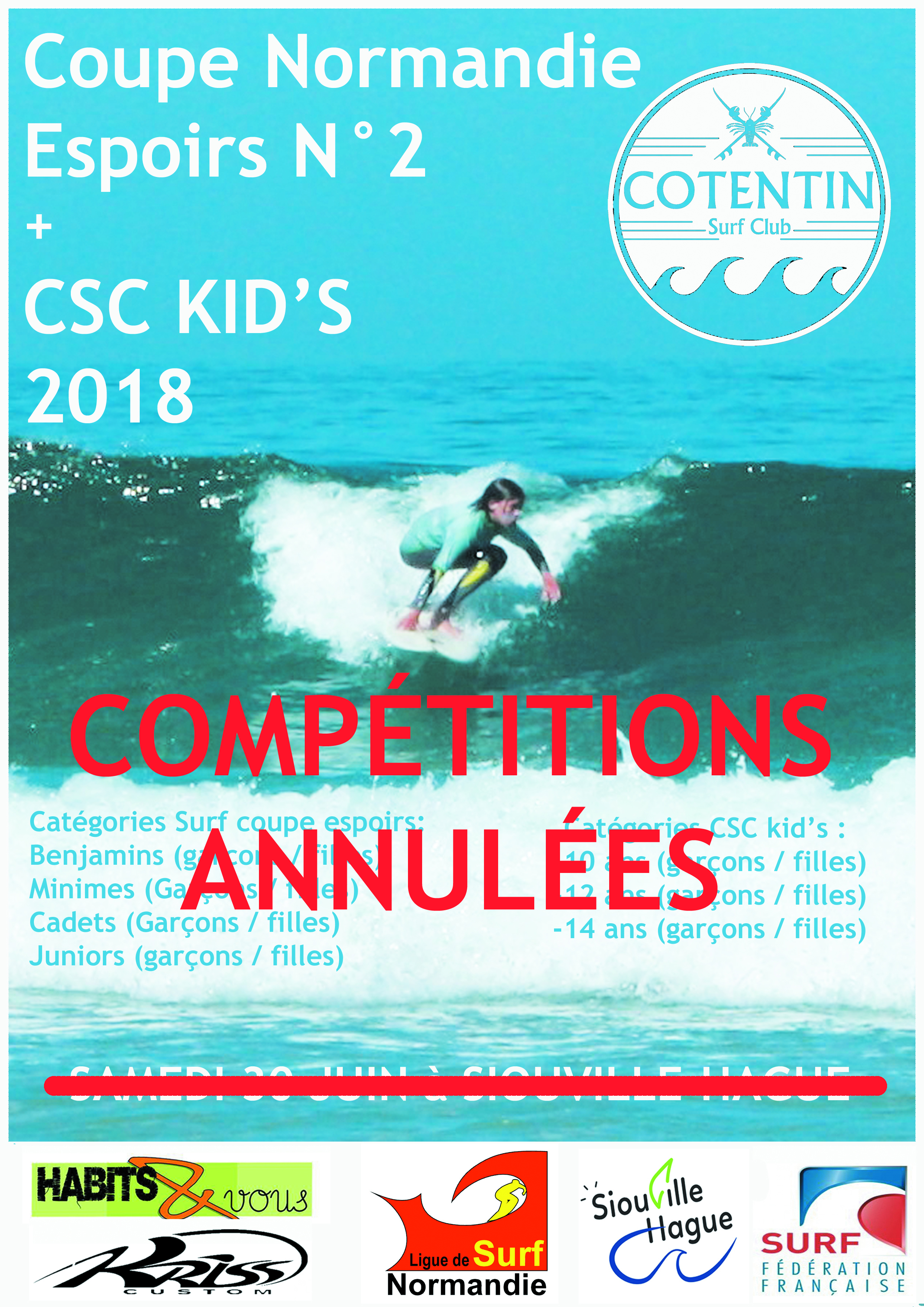 Annulation CSC kid's et coupe Normandie espoirs N°2