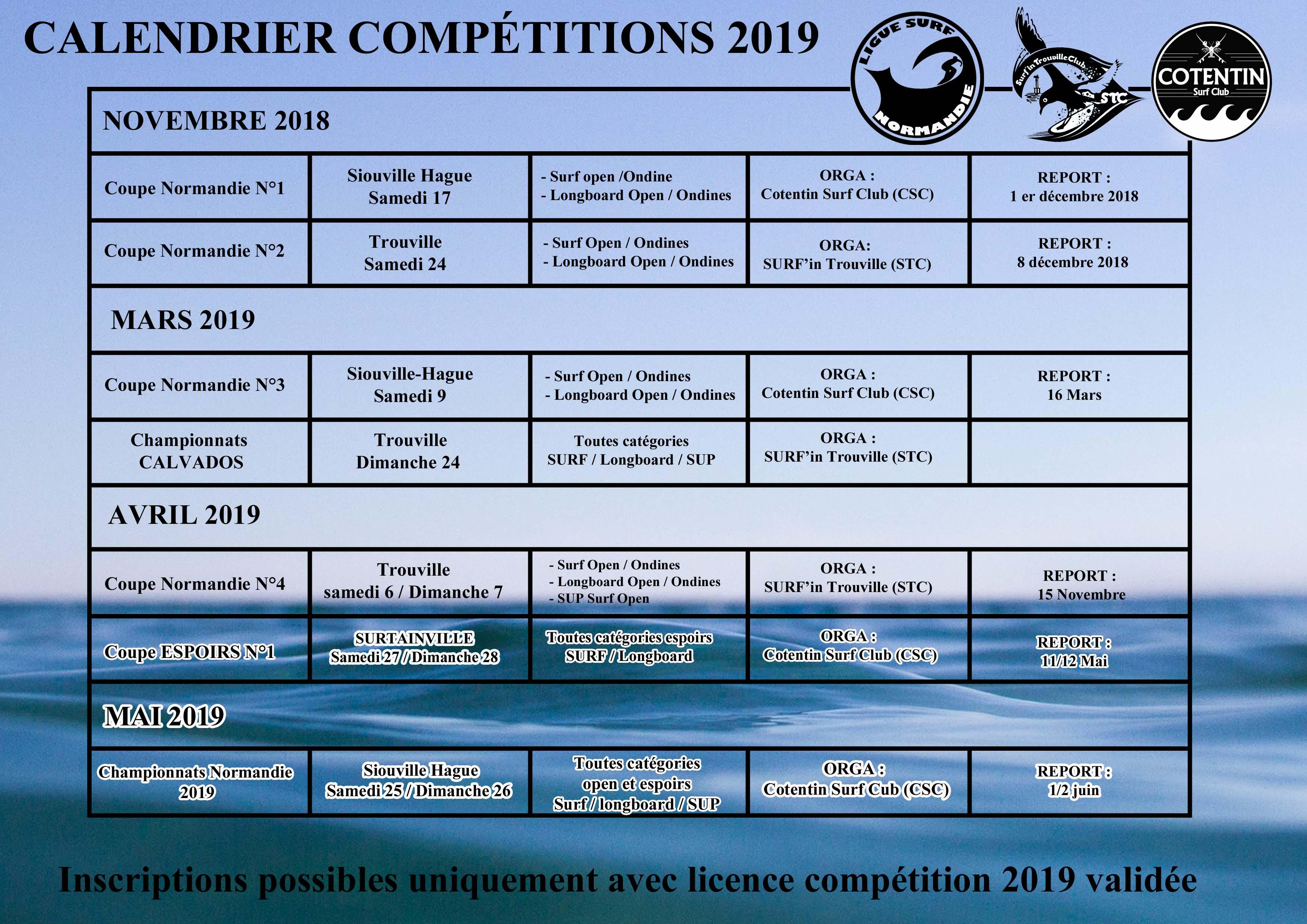 Calendrier des compétitions 2019 1 ère partie